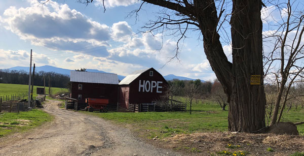 red barn with HOPE written on the side